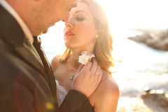 Lovely Groom and bride outdoors on a sunny day Royalty Free Stock Photography