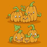 Lovely Halloween Pumpkins. Cute hand draw vector illustration Stock Images