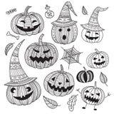 Halloween set of cute pumpkins in boho style. vector illustration