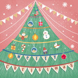 Lovely hand drawn Christmas greeting card Stock Photography