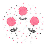 Lovely hand drawn illustration of three flowers with watercolor. Elements Royalty Free Stock Photography