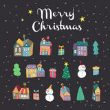 Lovely hand drawn Merry Christmas elements Royalty Free Stock Image