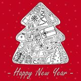 The lovely hand-drawn New Year`s illustrations. vector illustration