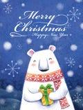 Lovely hand drawn polar bear holding a gift Royalty Free Stock Photo