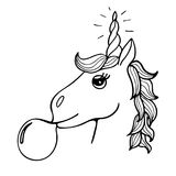 Lovely hand-drawn unicorn the inflating sphere from chewing gum. Black-and-white Royalty Free Stock Photography