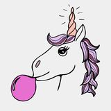 Lovely hand-drawn unicorn the inflating sphere from chewing gum. Lovely hand-drawn unicorn the inflating sphere from purple chewing gum Royalty Free Stock Image