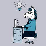 Lovely hand-drawn unicorn-manager working behind the laptop. Blue background Stock Images
