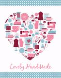 Lovely handmade. Heart shape sign of sewing, Stock Photo
