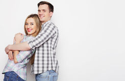 Lovely happy  couple hugging Stock Photo