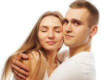 Lovely happy couple hugging Royalty Free Stock Image
