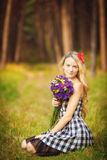 Lovely happy female closeup portrait, enjoying nature, summertime leisure concept Royalty Free Stock Photo