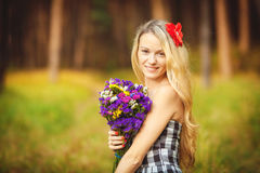Lovely happy female closeup portrait, enjoying nature, summertime leisure concept Royalty Free Stock Photos