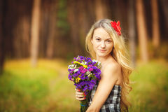 Lovely happy female closeup portrait, enjoying nature, summertime leisure concept Royalty Free Stock Images