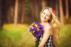 Lovely happy female closeup portrait, enjoying nature, summertime leisure concept Stock Image