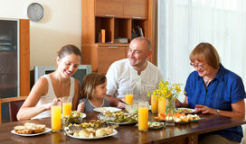 Lovely happy multigeneration family having healthy dinner. At home together Royalty Free Stock Photography