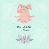 The lovely happy pig blindly sits in a lotus pose. Meditation. Fine flower of a lotus. Cute cartoon pig sticker on blue background with circles and hearts. Be Stock Image