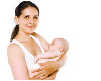 Lovely happy smiling mother with sleep baby Royalty Free Stock Photo