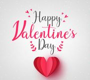 Lovely Happy Valentines Day Greeting Card with Red Paper Heart. In Vignette Background. Vector Illustration Royalty Free Stock Photo