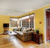 Lovely hardwood living room with colorful sofa, and yellow walls Royalty Free Stock Images