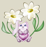 Lovely hare with lace heart Stock Photos