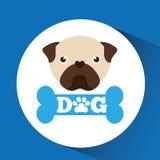 Lovely head puppy pug dog. Vector illustration eps 10 Stock Photography