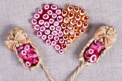 Lovely heart candy canes Royalty Free Stock Photos