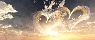 Lovely heart in cloudy sunset sky 3d illustration Royalty Free Stock Images