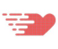 Lovely Heart Halftone Dotted Icon with Fast Rush Effect royalty free illustration