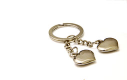 Lovely heart keyring. A lovely couple of heart  keyring Royalty Free Stock Photo
