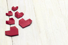 Lovely heart's on white wood Royalty Free Stock Photos