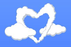 Lovely heart shape clouds Royalty Free Stock Images