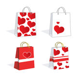 Lovely heart shopping bags Royalty Free Stock Photos