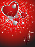 Lovely hearts. Illustration of red and silver hearts on an abstract background Royalty Free Stock Photo
