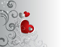 Lovely hearts. Illustration of red and silver hearts on a floral background Royalty Free Stock Photos