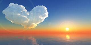 Lovely hearts cloud in sunset or sunrise sky Stock Image