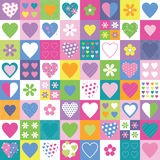 Lovely hearts and flowers collection background. Hearts and flowers collection pattern on colorful rectangular background stock illustration