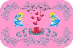Lovely hearts surrounded by angels Stock Photography