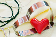 Lovely hearts and various bracelets Stock Photo