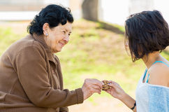 Lovely hispanic grandmother and granddaughter Royalty Free Stock Photo