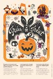Lovely holiday Happy Halloween flyer template with funny and spooky cartoon bat, pumpkin and place for text. Vector. Illustration for festive party invitation Royalty Free Stock Photography