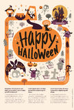 Lovely holiday Happy Halloween flyer template with funny and spooky cartoon characters and place for text. Vector. Illustration for festive party invitation Stock Photography