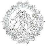 Lovely horse design. Lovely horse coloring page in exquisite style Royalty Free Stock Photos