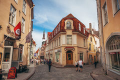 Lovely house on the longest Pikk street of the old town of Tallinn Royalty Free Stock Photography