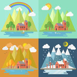 Lovely house scenery four seasons Stock Images