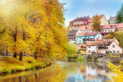 Lovely houses and autumn trees Royalty Free Stock Image