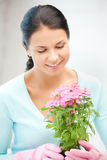 Lovely housewife with flower in pot Royalty Free Stock Photography