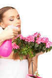 Lovely housewife with flowers Stock Image