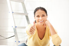Lovely housewife making repairing works Royalty Free Stock Photo