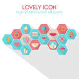 Lovely Icon Flat Design Long Shadow Royalty Free Stock Photos