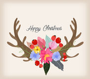 Lovely illustration of deer head and spring flowers and plants with graphic hand drawn background Stock Image